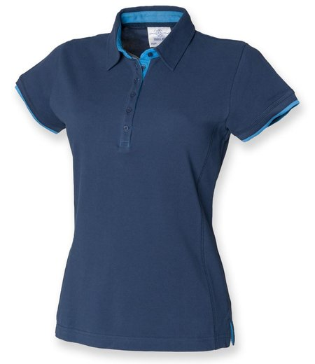 Front Row - Ladies Contrast Cotton Piqué Polo Shirt